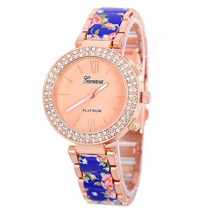 Geneva Platinum horloge Flower Diamonds Rose Blue