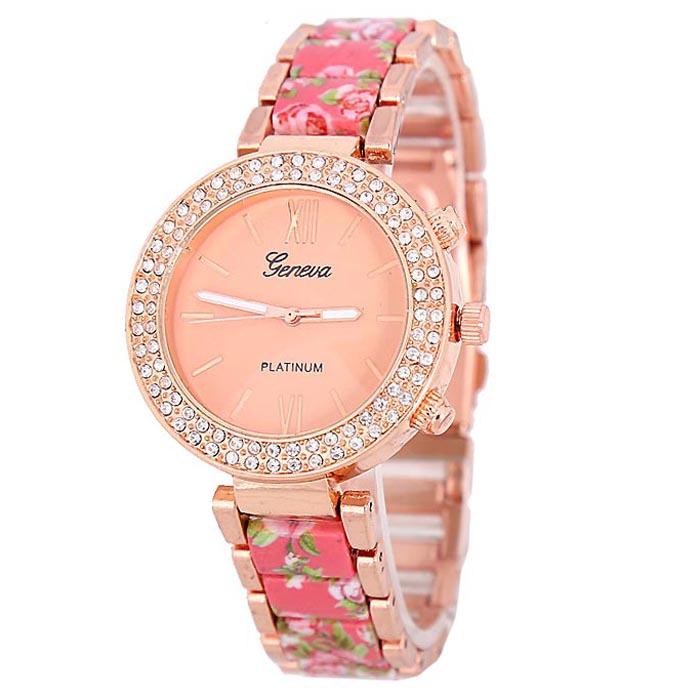 Geneva Platinum horloge Flower Diamonds Rose Pink