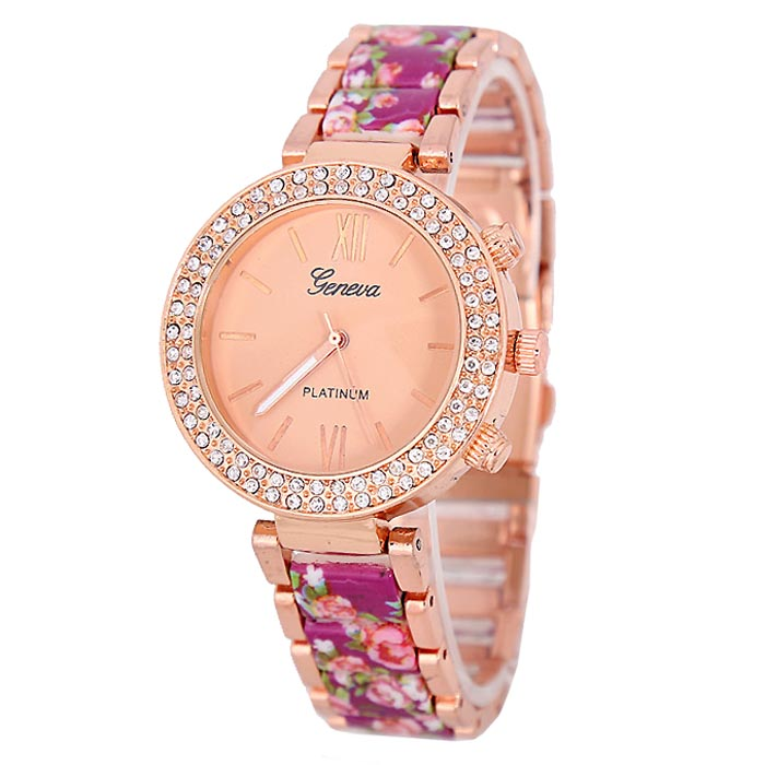 LookingGoodToday, Geneva Platinum horloge Flower Diamonds Rose Purple