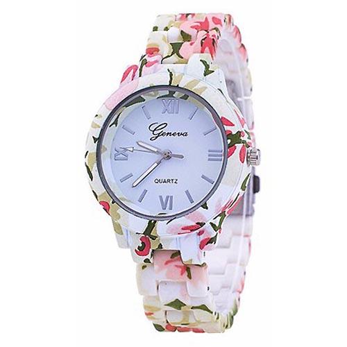 Geneva Platinum horloge Flower Print Pink