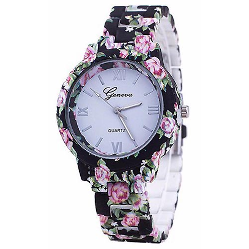 LookingGoodToday, Geneva Platinum horloge Flower Print Black Rose