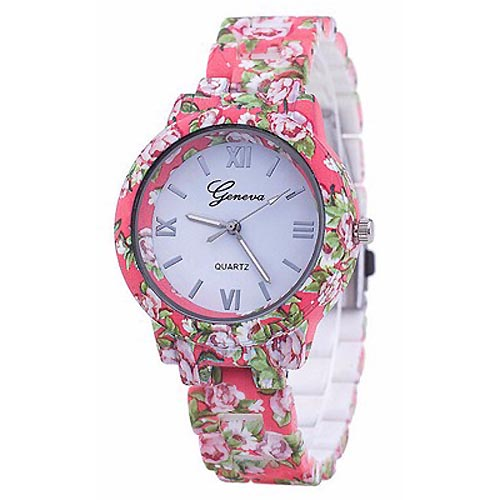 LookingGoodToday, Geneva Platinum horloge Flower Print Pink Rose