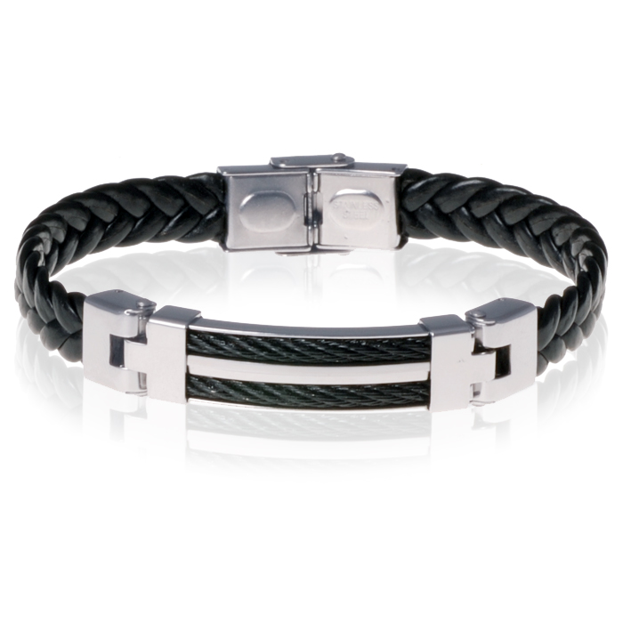 Gevlochten rubber heren armband Black Cable