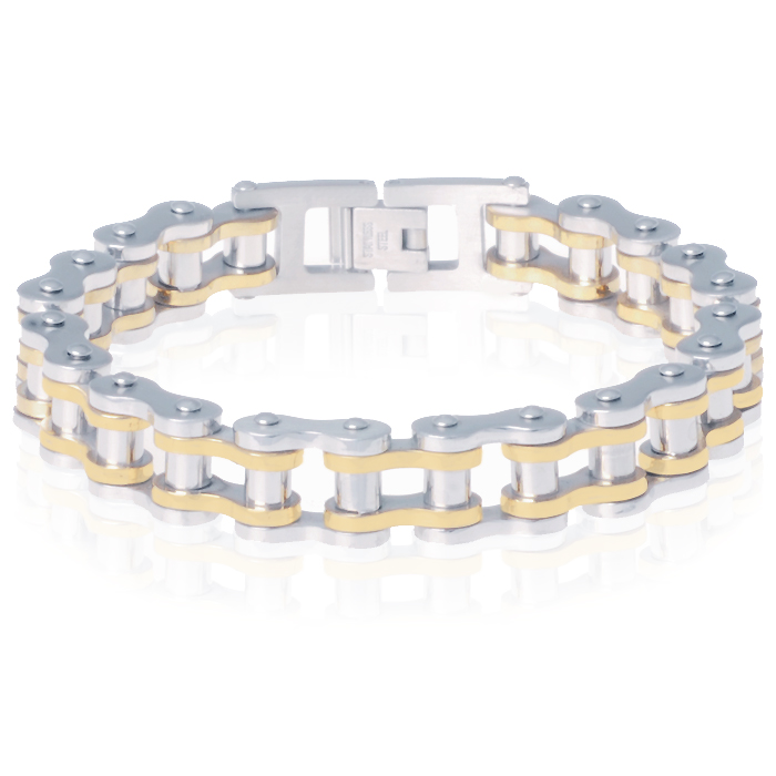 Heren armband Edelstaal Biker Chain Silver Gold