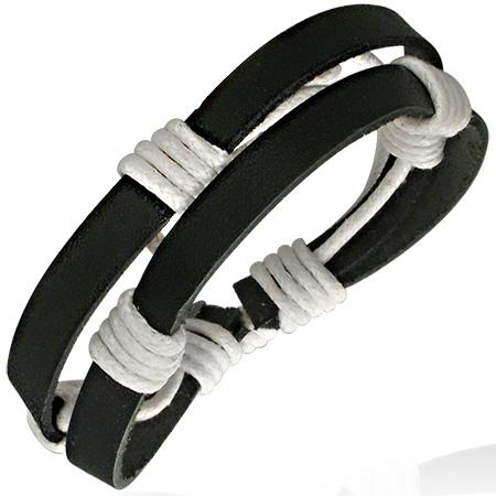 Heren armband Leer zwart Trekkoord