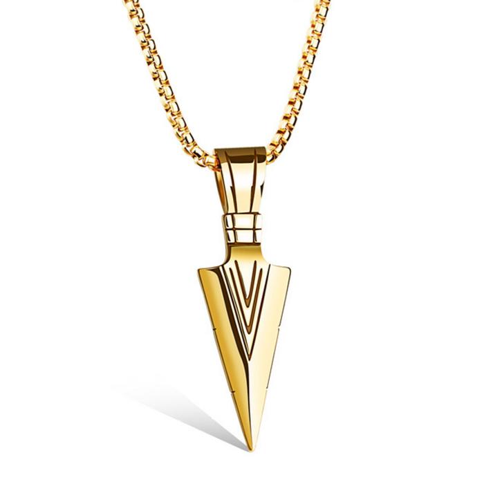 Heren hanger Edelstaal Viking Arrow Gold