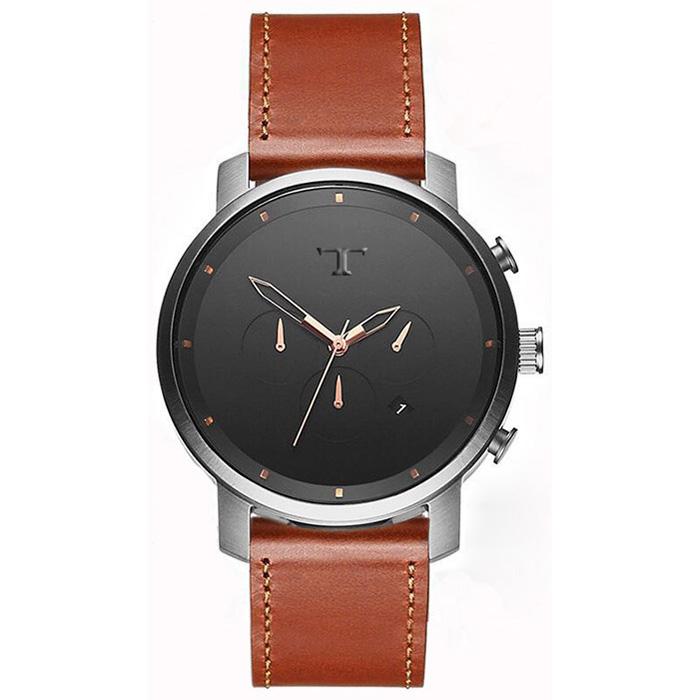 Heren Horloge Big T Zilver Zwart Rose