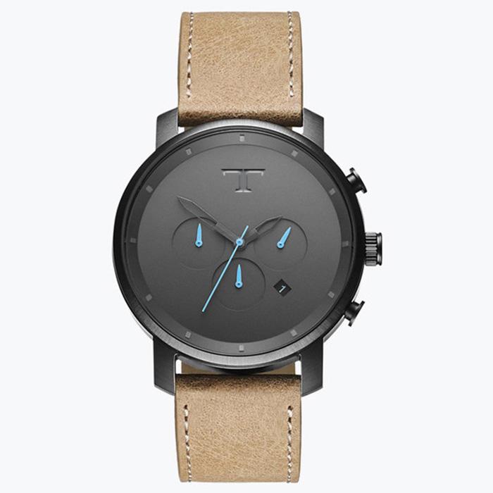 Heren Horloge Big T Zwart Blauw
