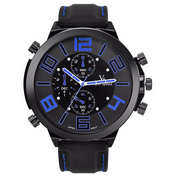 Heren horloge V6 Super Speed Zwart Blauw