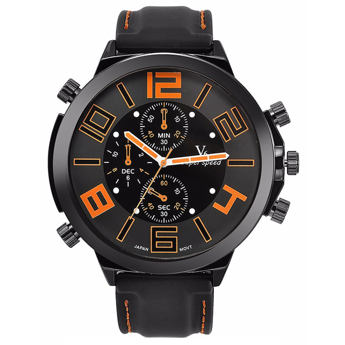 Heren Horloge V6 Super Speed Zwart Oranje