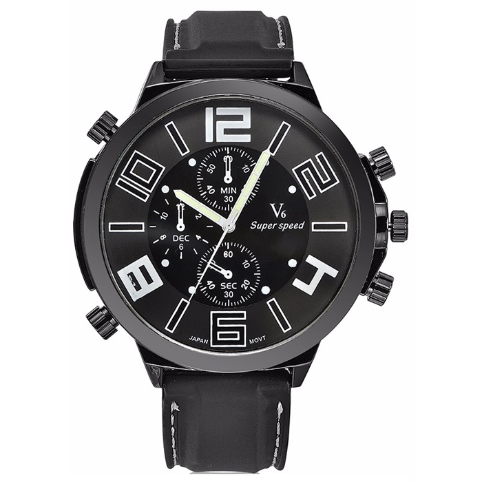 Heren Horloge V6 Super Speed Zwart Wit