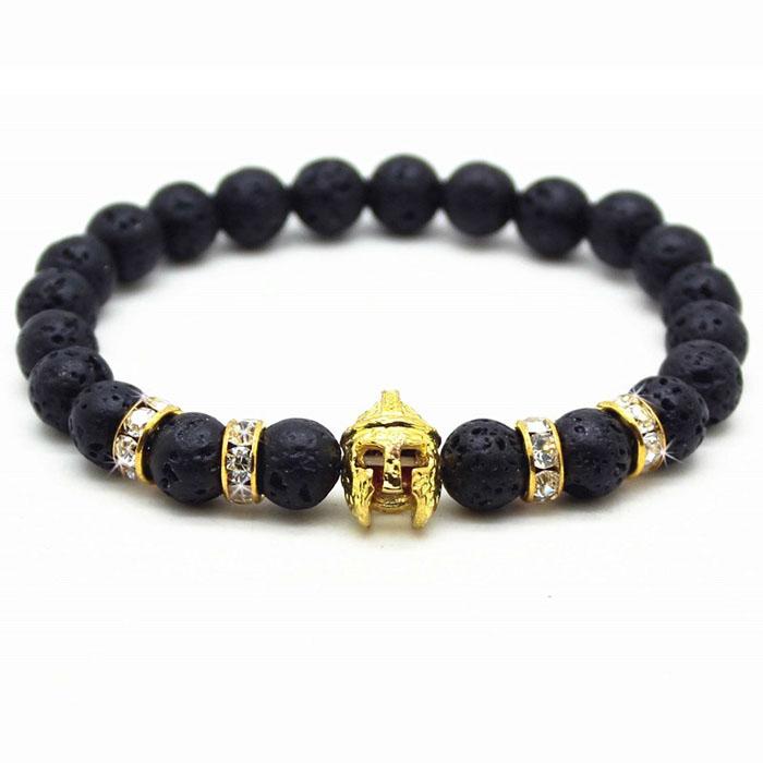 Kralen armband heren Lavasteen Spartan Helmet Gold