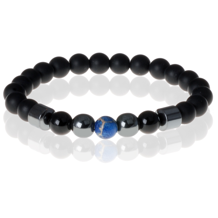 Heren kralen armband Lucky Stone Blue