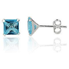 LGT Jewels Stud oorbellen 925 zilver Cubic Auguamarine 4mm