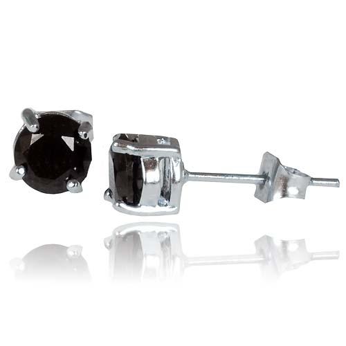 Heren oorbellen Round Zirconia Black 6mm