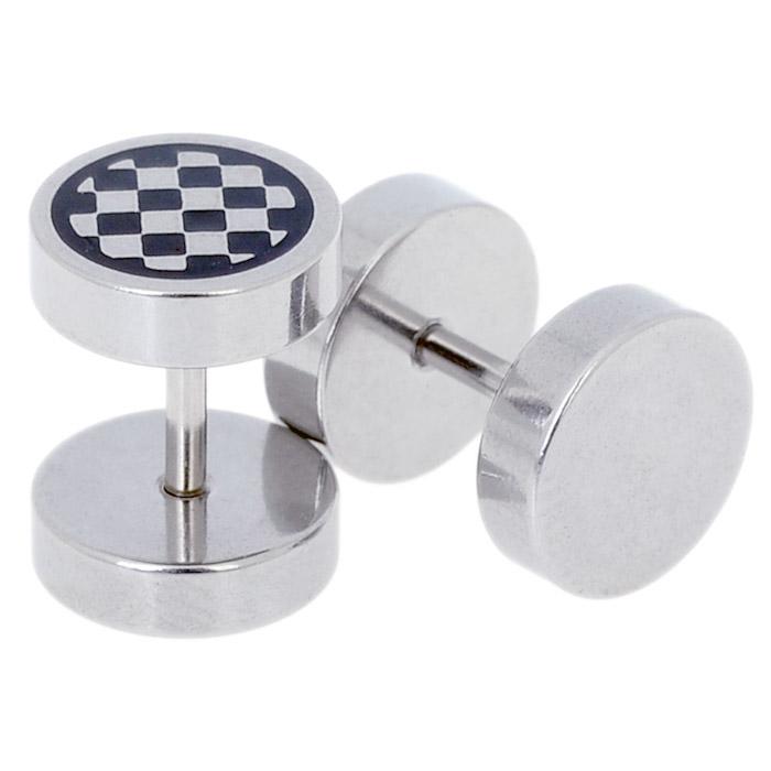 Heren oorbellen Fake Ear Plug Chess
