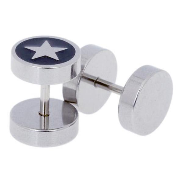 Heren oorbellen Fake Ear Plug Star