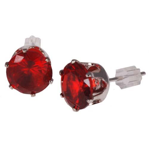 Heren oorbellen Red Zirconia Verguld 8mm
