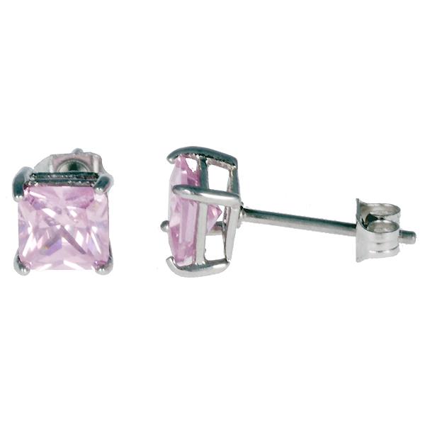 Heren oorbellen RVS cubic Zirconia pink 6mm
