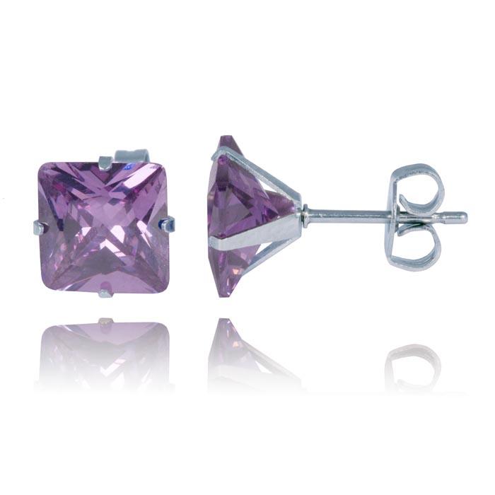 LGT Jewels Stud oorbellen Edelstaal Classic Purple 8mm
