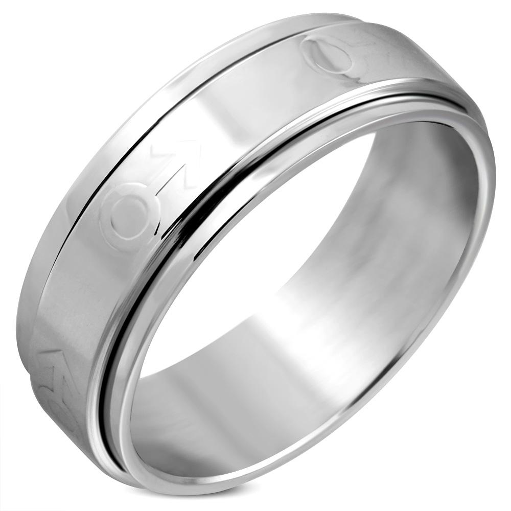 Heren ring RVS Spinning Gender Symbol