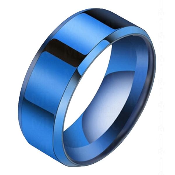 Heren ring Titanium Blauw 8mm 20mm