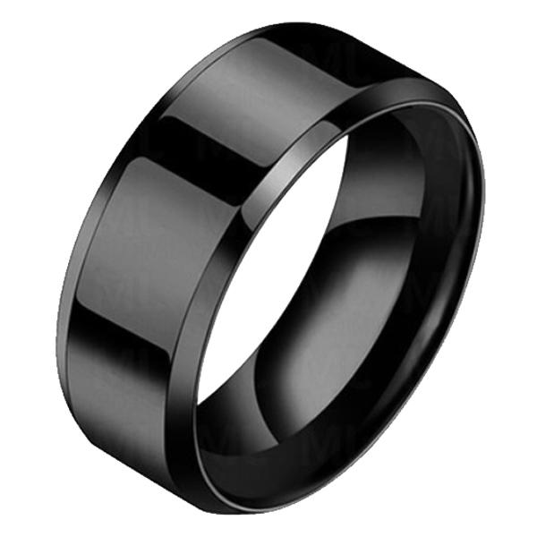 Heren ring Titanium Zwart 8mm 17mm