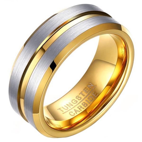 Heren ring Wolfraam Verguld Zilver Goud 8mm-21mm