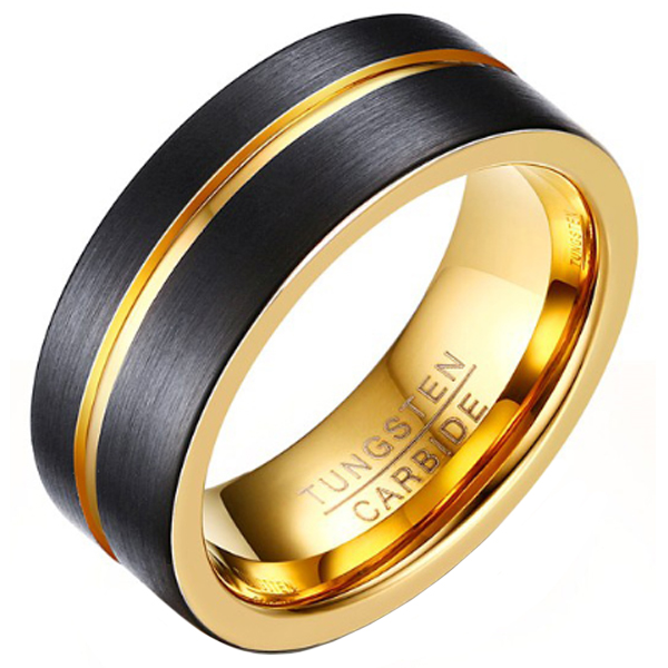 Heren ring Wolfraam Verguld Zwart Goud 8mm