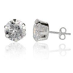 LGT Jewels Stud oorbellen 925 zilver Round Transparent 8mm