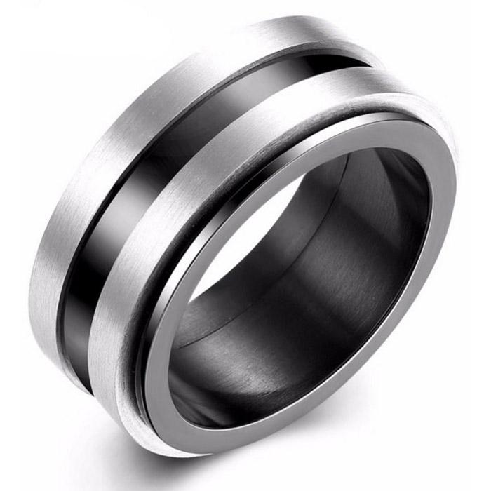 Herenring edelstaal Spinner Black silver