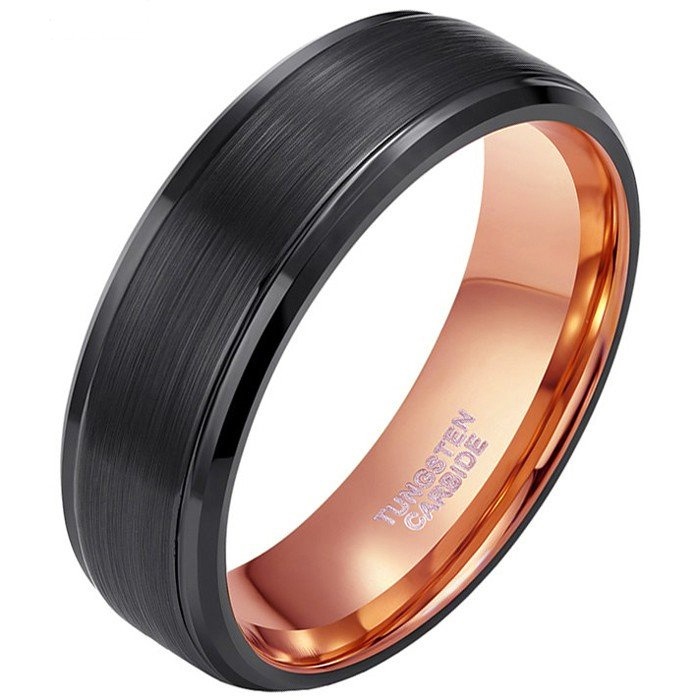 Herenring Wolfraamcarbide Zwart Rose 8mm