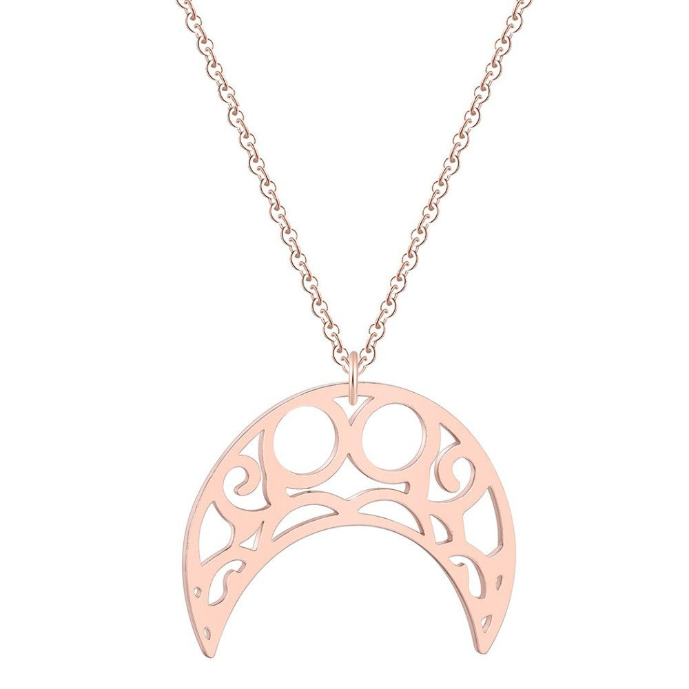 Hippe dames ketting Staal Maan Hanger Rose
