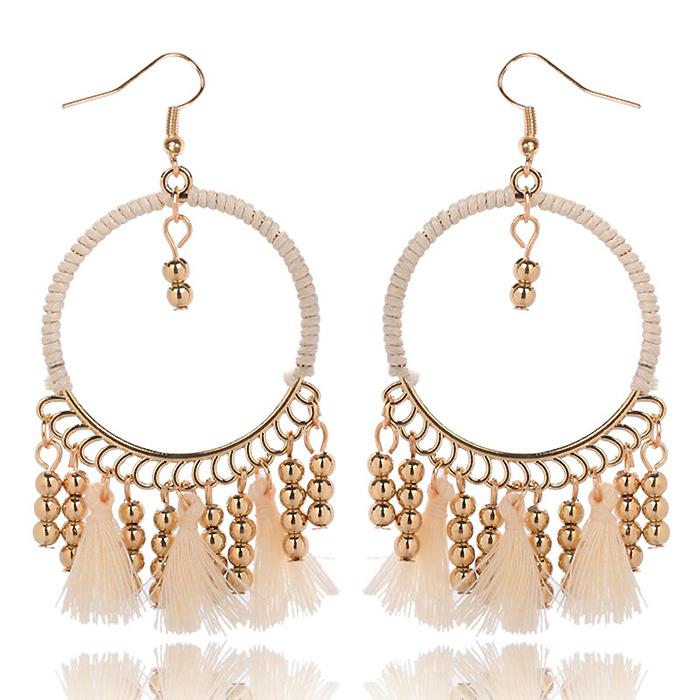 Hoop oorbellen Gold beads Tassel Beige