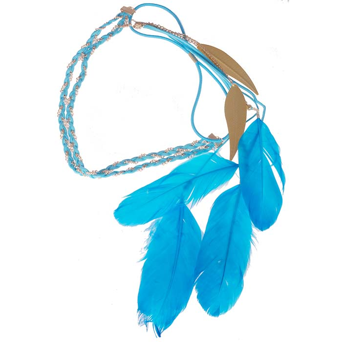 Ibiza Boho haarband Golden chain Leaf Feather Blue
