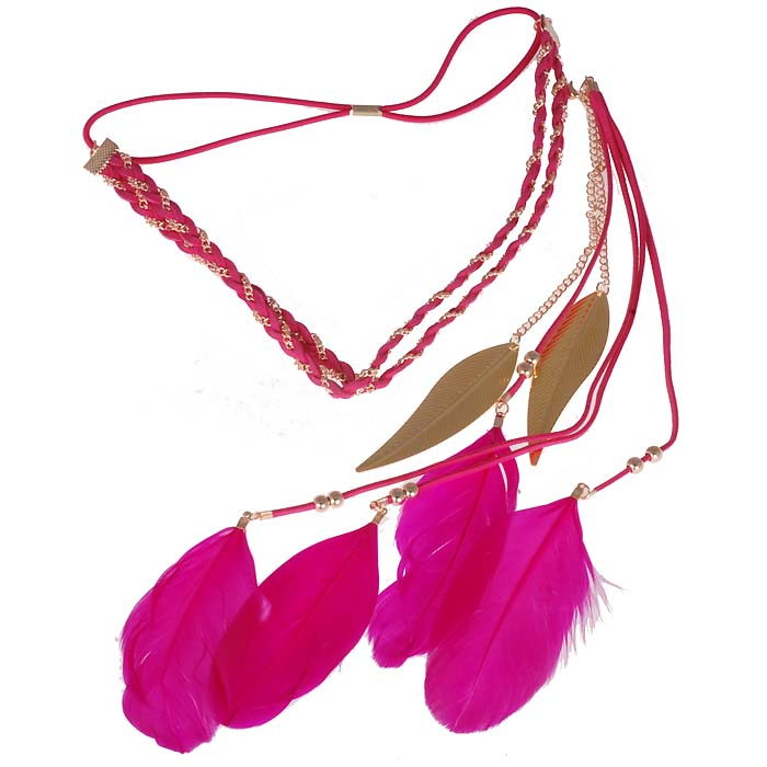 Ibiza Boho haarband Golden chain Leaf Feather Pink