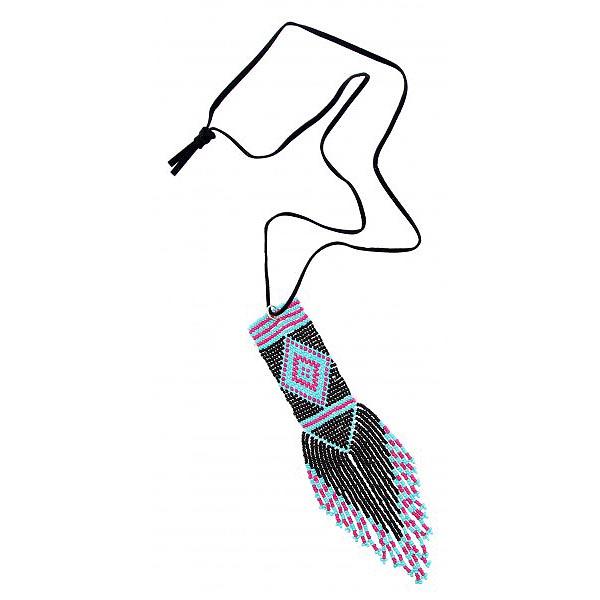 Ibiza dames ketting Turquoise Zwart en Roze