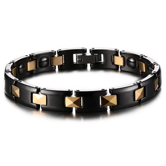 Keramische armband Mendes Magnetisch Zwart Goudkleurig