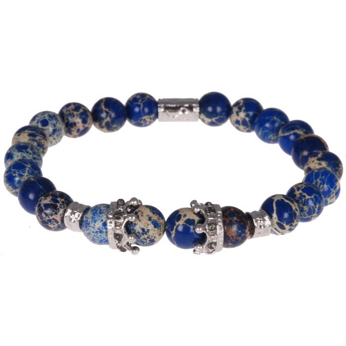 Kralen armband blauw natuuursteen Kroon Zilver