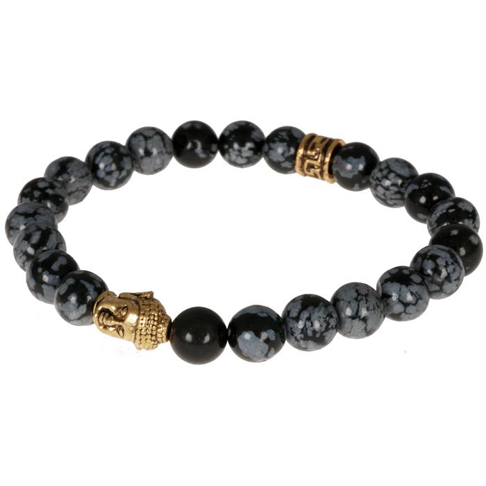 Kralen armband Obsidiaan Snowflake Buddha Gold