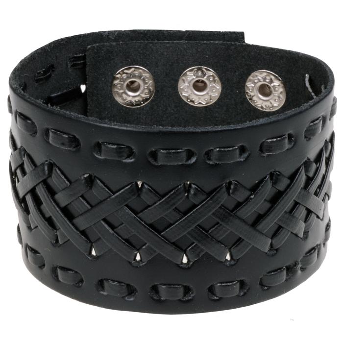 Lederen heren armband Black Braided