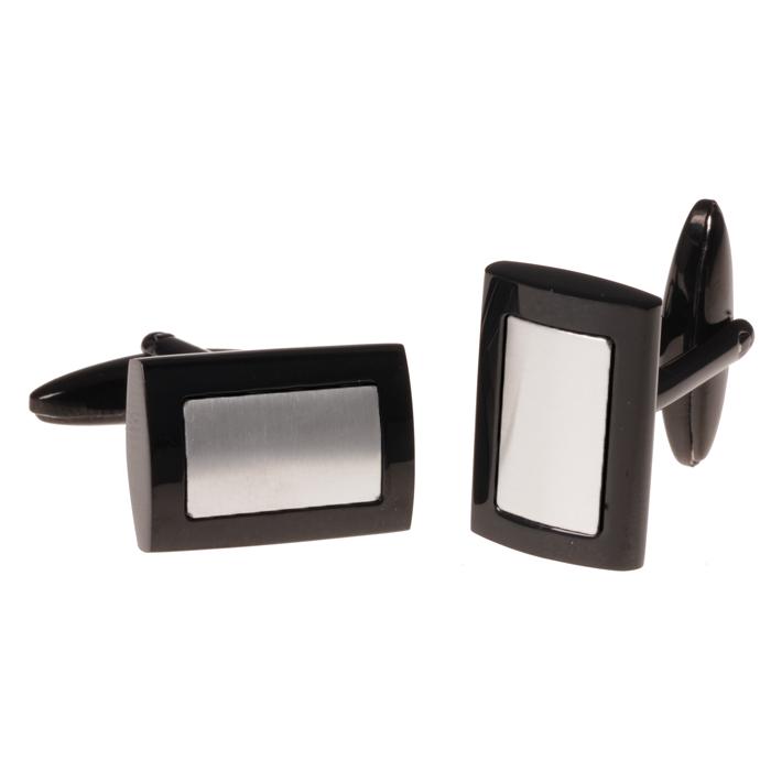 Leo Marco manchetknopen zwart edelstaal LM900