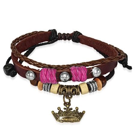 Leren armband Bali Bead Royal Crown