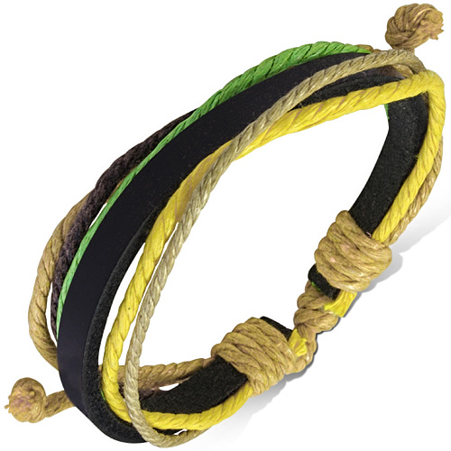Leren armband black leather with multicolor rope