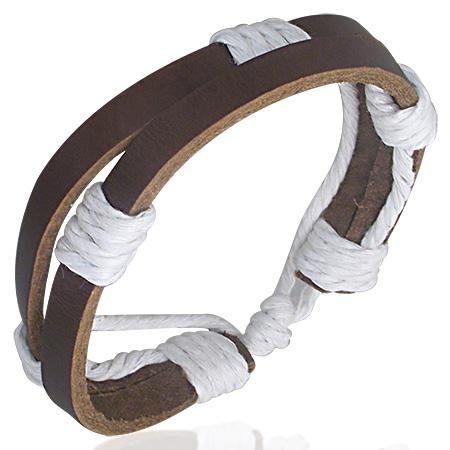 Leren armband bruin met wit touw