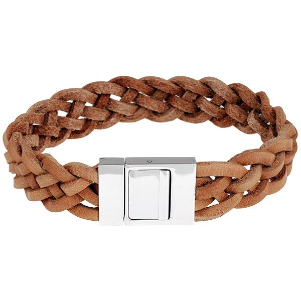 Leren armband Twisted Lichtbruin