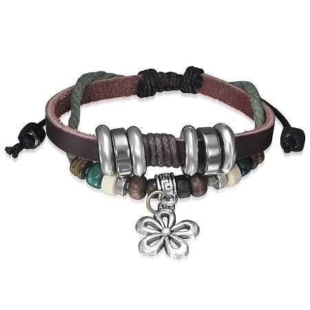 Leren armband Greek Key Bali Wood Bead Flower