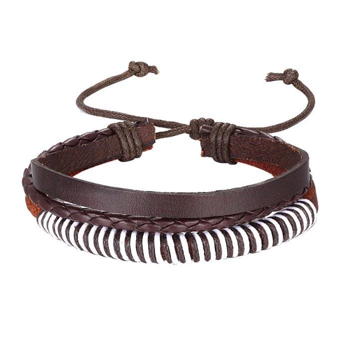 Leren armband Heren Verstelbaar Touw Bruin Wit