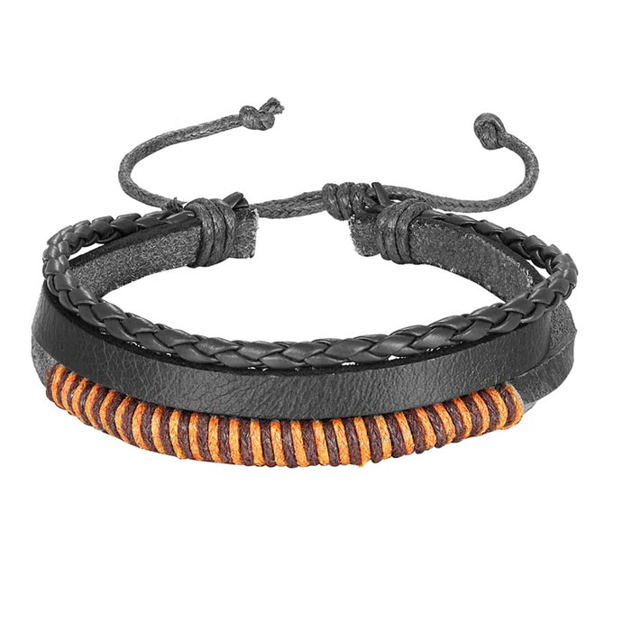 Leren armband Heren Verstelbaar Touw Zwart Bruin