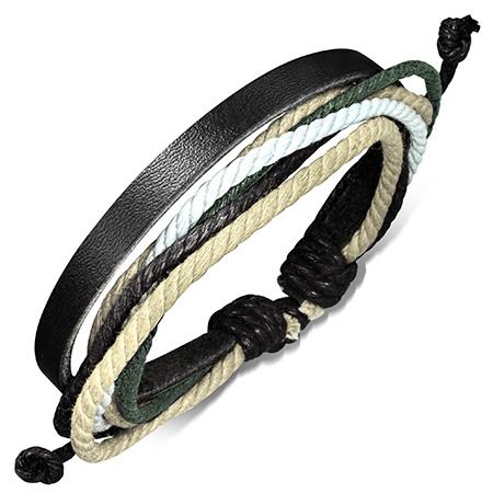 Leren armband met Touw Multi Wrap fbk271